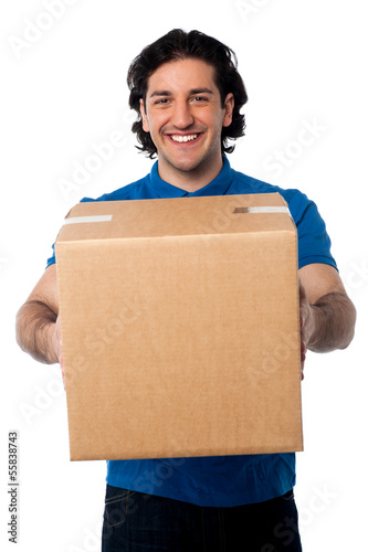 Man carrying cardboard box