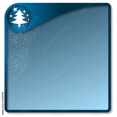 blue text box with a Christmas motif