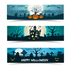 Happy Halloween banners set