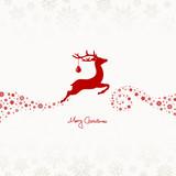Flying Reindeer, Christmas Ball & Stars Red/Beige