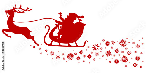 Christmas Sleigh & Snowflakes Red