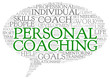 Personal coaching concept words in tag cloud isolated on white