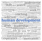 Human development concept in tag cloud on white background
