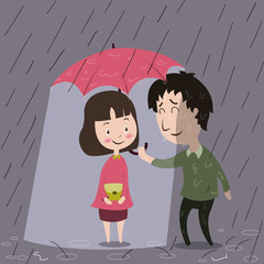 Love is an action, man holding umbrella for his lover.