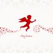 Flying Angel Holding Star Beige/Red Stars