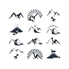 Icons set with various alpine silhouettes