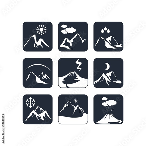 Mountain weather icons set