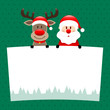 Rudolph & Santa Label Dots Green