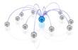 Netz mit blauem Zentrum