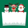 Snowman, Rudolph & Santa Label Green