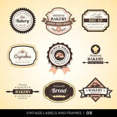 Vintage bakery logo labels and frames