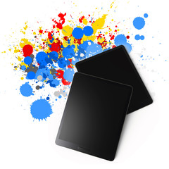 tablet computer on color splash