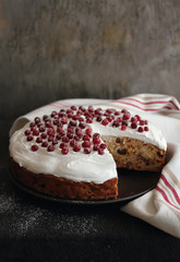 Fruit christmas cake with meringue