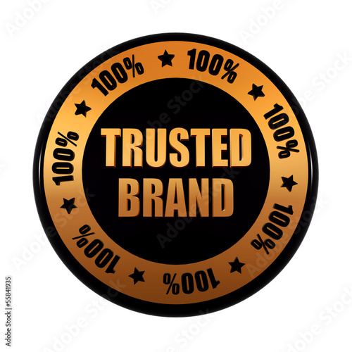 trusted brand 100 percents in golden black circle label