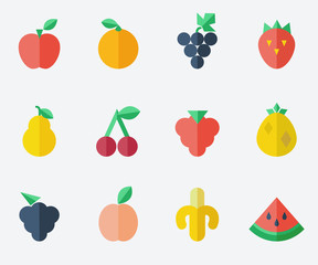 fruit set - flat design