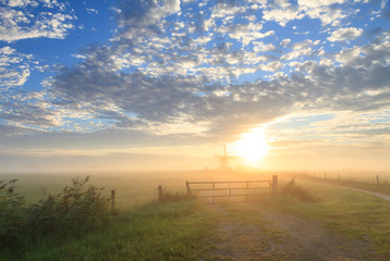Foggy, autumn sunrise at a Dutch windmill.