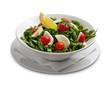 Healthy salad with mozarella chease and tomato