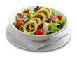 Healthy salad with onion rings and grilled chiken