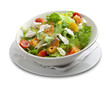 Healthy salad with smoked salmon,cheese,corn,cherry tomato