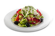 Healthy vegetable salad with white cheese