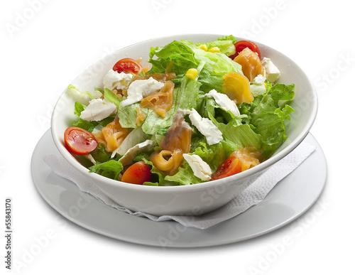 Healthy salad with smoked salmon,cheese,corn,cherry tomato