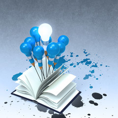 drawing idea pencil and light bulb concept outside the book with