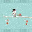 Snowman Pulling Sleigh With Gift On Tree Retro Dots