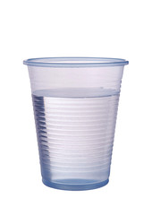 Transparent blue plastic cup of water isolated ver white