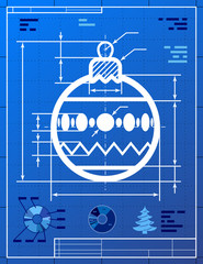 Christmas tree ball symbol like blueprint drawing