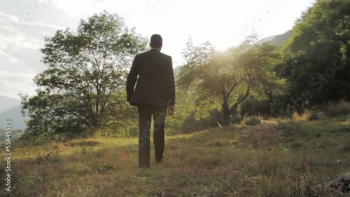 Businessman Walking Toward Success Sun NAture Background HD