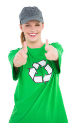 Happy pretty environmental activist making thumbs up