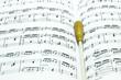 Leinwandbild Motiv Baton on music score