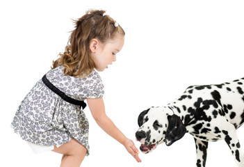 kid girl feeding dog