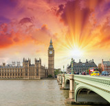 London. Westminster Bridge and Houses of Parliament on a beautif