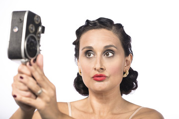 Mujer con filmadora