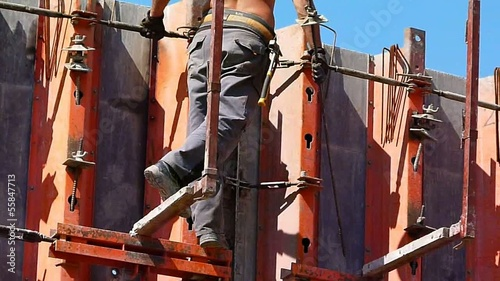 construction concrete wall worker