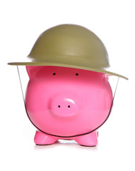 piggy bank wearing army hat