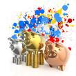 winner piggy bank and splashing colors background