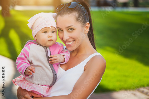 mom and baby in the park