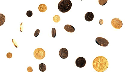 Seamless Loop of Falling Pound Coins Against a White Background.
