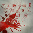 3D paint red color splash and business strategy background