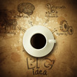 the big idea diagram cup of coffee vintage paper background