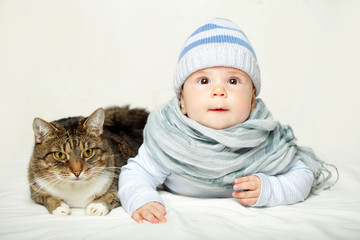 Baby and cat - good friends
