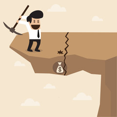 Businessman dig a ground to find a treasure at the edge of cliff