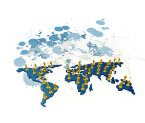 social network human 3d on world map on splash colors background