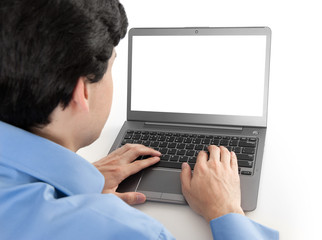 businessman working on his laptop with blank screen
