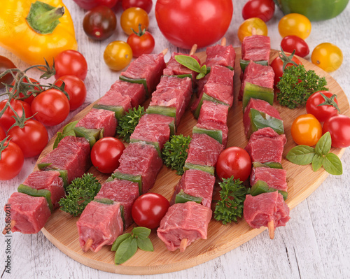 pieces of meat with vegetables
