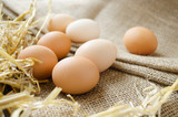 Fresh organic eggs on a sackcloth