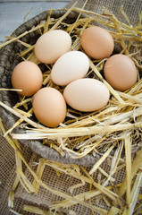 Fresh organic eggs in a wicker basket