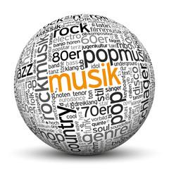 Kugel, Musik, Wörter, Text, Textur, WordCloud, beschriftet, 3D